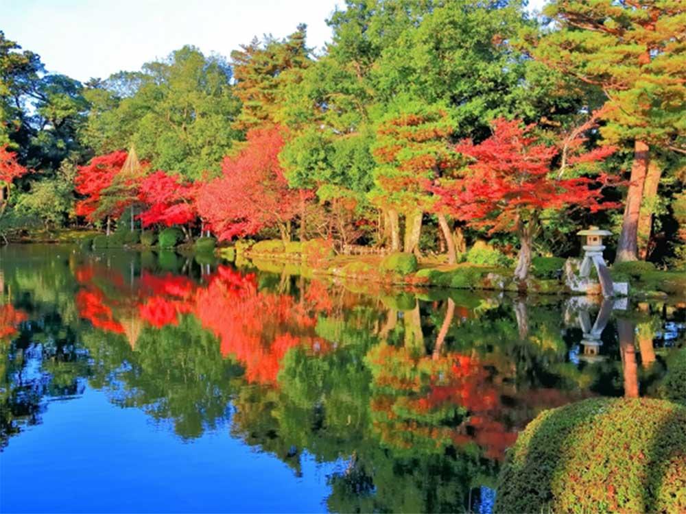 兼六園の紅葉風景