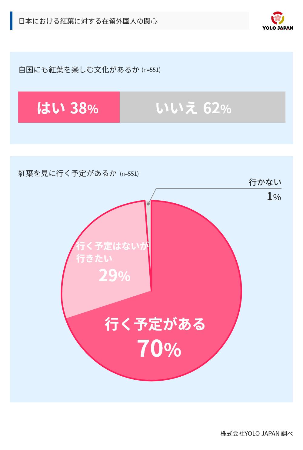 日本における紅葉に対する在留外国人の関心に対するアンケート調査結果。母数は551で、「自国にも紅葉を楽しむ文化があるか」という設問に対し、はいと答えたのは38%、いいえと答えたのは62%であった。また、紅葉を見に行く予定があるかという設問に対しては、行く予定があるまたは行く予定はないが行きたいと答えたのが99%で、行かないと答えたのは1%であった。